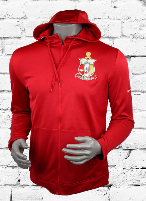 Kappa Alpha Psi Nike Therma Flex Showtime Hoodie is warm, lightweight and incredibly soft with a tailored feel, this full-zip offers unrivaled comfort, customized with an embroidered left chest ΚΑΨ shield and a bold flock sleeve print.