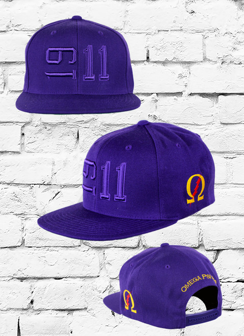 ΩΨΦ 1911 Sideline Snapback featuring an embroidered Omega Psi Phi founded year at the front with an embroidered  Omega symbol on  the left-wear side and Omega Psi Phi embroidered at the rear above an adjustable snapback closure.