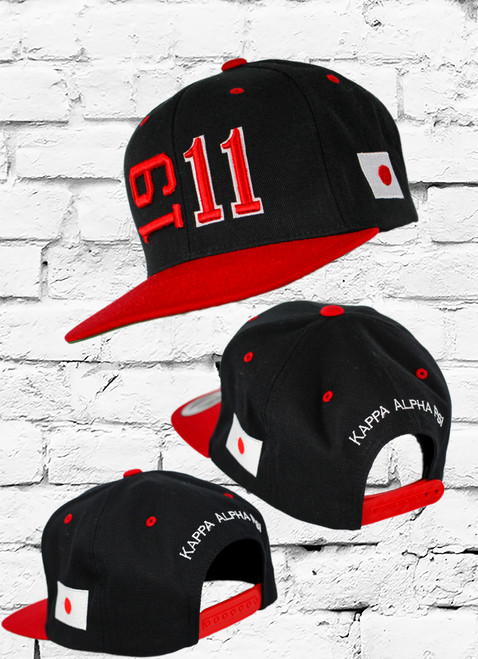 Support your fraternity with the ΚΑΨ 1911 Sideline Snapback featuring an embroidered Kappa Alpha Psi founded year at the front with an embroidered Flag symbol on  the left-wear side and Kappa Alpha Psi embroidered at the rear above an adjustable snapback closure.