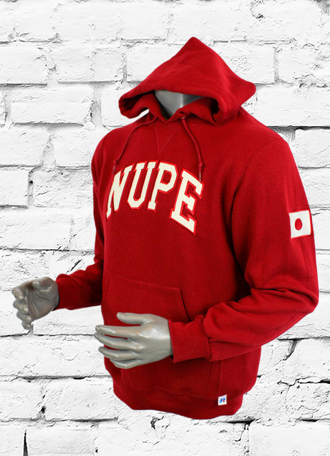 Stylish crimson hooded sweatshirt made with Dri-Power® Fleece features moisture-wicking fabric, front muff pocket, ribbed cuffs and waistband, three-end fleece, and a knit drawcord. Stay dry as you sweat. Chino Twill appliqué' embroidered NUPE lettering across center chest and left sleeve embroidered Japanese flag.