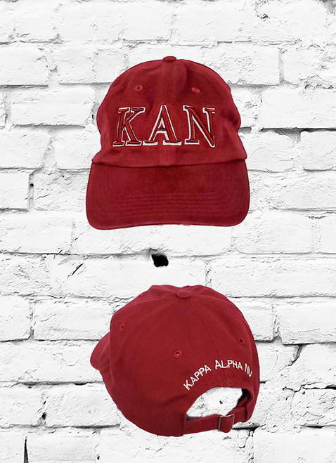 Kappa Alpha Nu crimson dad cap made from durable cotton, this baseball cap features 3D embroidered KAN greek symbols on front and Kappa Alpha Nu on the rear.
