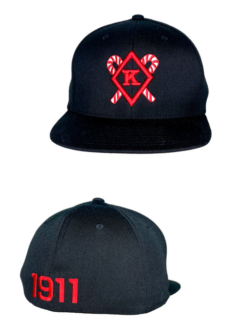 Black Kappa Alpha Psi Kane Hat. Flex Fit Cap featuring an embroidered Diamond K with Kanes logo at the front panels with 1911 logo at the rear.