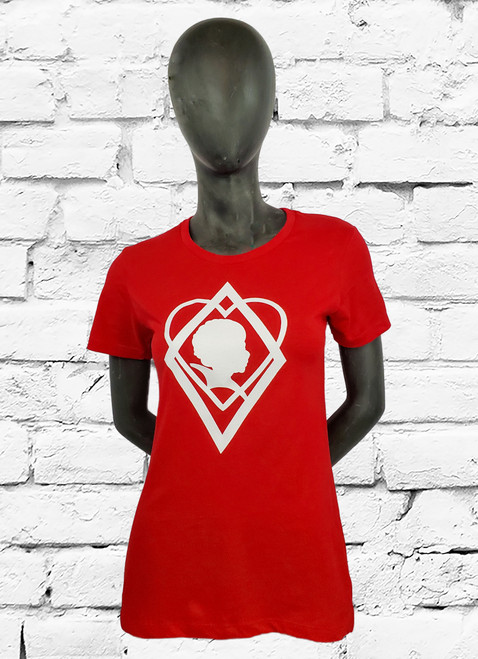 Red boyfriend cut tee with white screen printed Kappa Alpha Psi Silhouette symbol on center front.