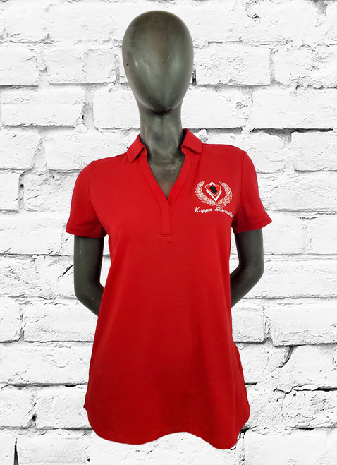 Silhouette red polo with left chest embroidered crest. This women's polo sets no limits in this easy-moving, moisture-wicking style.