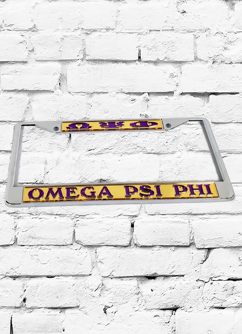 ΩΨΦ GOLD/PURPLE LICENSE PLATE