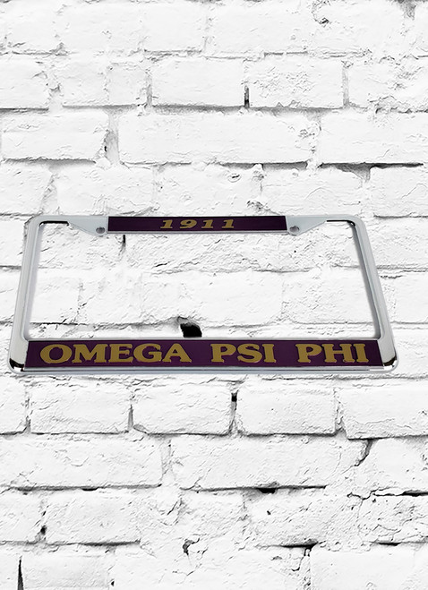 ΩΨΦ purple and gold painted license plate cover.