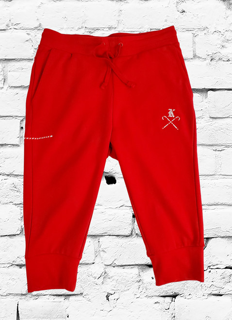 "ΚΑΨ Athletic 3/4 length jogger shorts made with high quality performance fleece.  Features a modern slim fit profile, below-knee length with secure 3.5"" ribbed cuffs.  Side slant pockets, zippered back pocket and drawstring waist. Kappa canes embroidered in multiply locations."