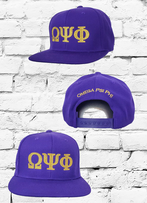 Purple Omega Psi Phi snapback with metallic gold embroidery. The front panel has embroidered ΩΨΦ greek symbols. The rear is embroidered with the words Omega Psi Phi.