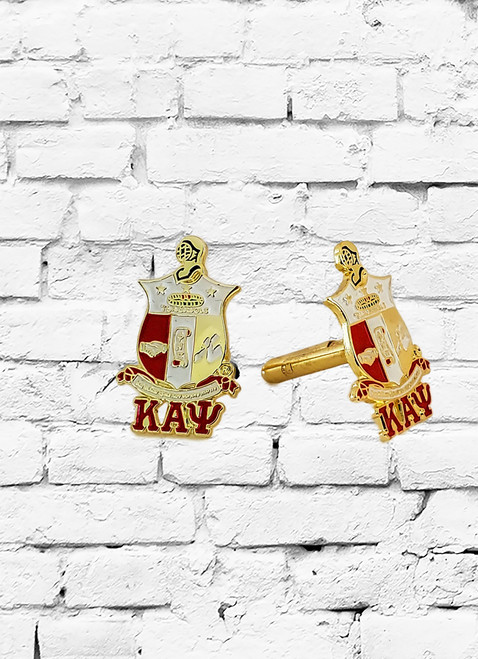 Full color 1 inch Kappa Alpha Psi shield cufflinks. Soft enamel color filled ΚΑΨ shield.