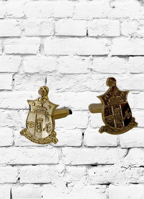 Kappa Alpha Psi shield sandblasted gold cufflinks.