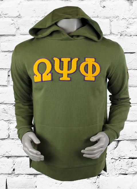 "Army Green Omega Psi Phi performance fleece hoodie with chenille purple and gold ""ΩΨΦ"" symbols on front chest."