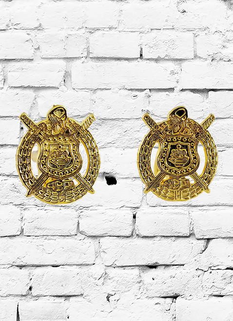 Omega Psi Phi escutcheon sandblasted gold cufflinks.