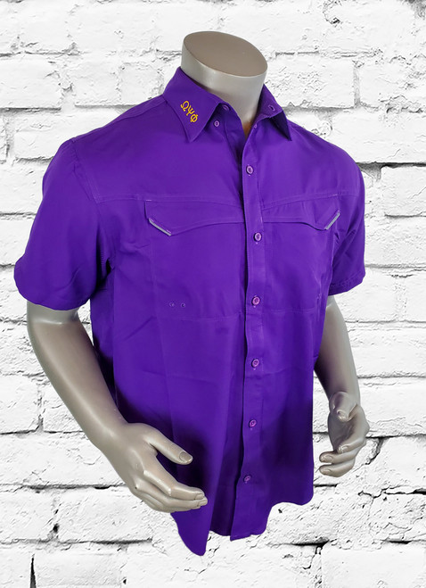 """Omega Psi Phi Tide Chaser short sleeve is designed to meet the needs for on the field or off, the new protective button down shirt is constructed of a soft woven mini checker fabric. ΩΨΦ greek symbols are embroidered on the collar and the left sleeve is embroidered with 2 """"Ω"""" symbols. A light weight, functional fishing shirt made of micro polyester, with 40 UPF sun protection."""