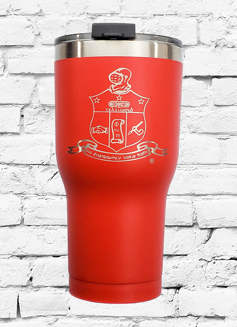 Kappa Alpha Psi 30oz. RTIC stainless steel Tumbler, is double wall vacuum insulated. Kappa Alpha Psi Fraternity shield is laser etched on the tumbler.
