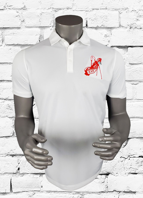 Kappa Alpha Psi golf polo offers a classic style while staying dry through heated rounds of golf with Dri-FIT moisture management technology. Design details include a flat knit collar, pearlized buttons and open hem sleeves. Features a three-button placket and side vents. The contrast Swoosh design trademark is embroidered on the left sleeve. The left chest has an original embroidered ΚΑΨ golf bag.  Made of 5.6-ounce, 100% polyester Dri-FIT fabric.