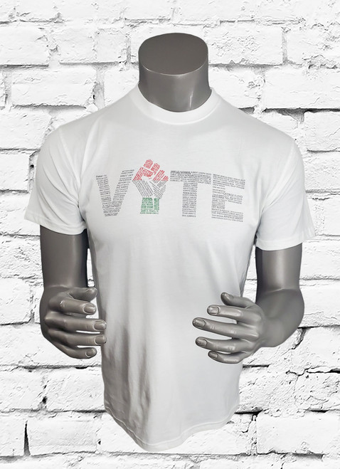 "White crew neck  t-shirt with the word ""VOTE"" written on the center chest. The design is created using the names of those who have lost their lives to senseless police violence."