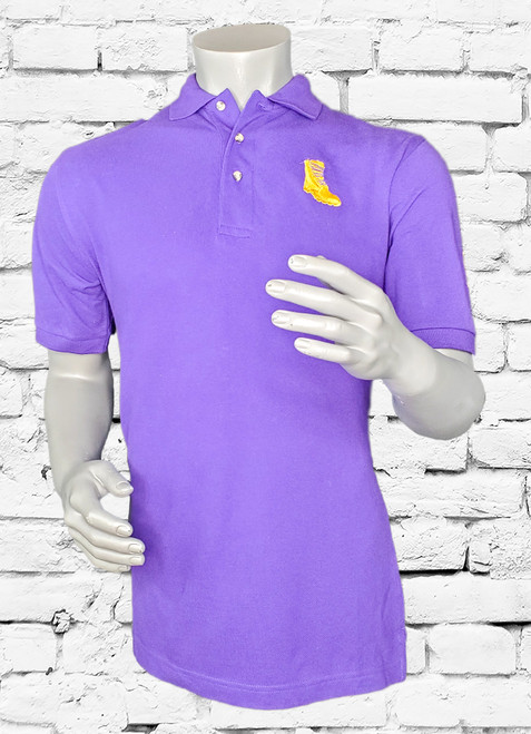 Crafted in USA, the Gold Boot Polo shirt is the ultimate in casual Omega gear. Its a purple lightweight cotton piqué fabric. This version features the iconic gold boot and left sleeve branding.