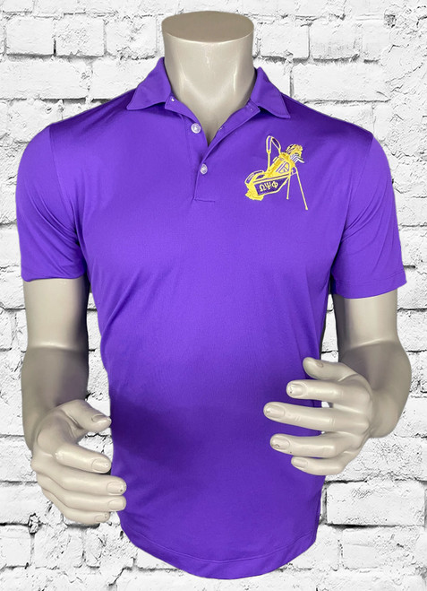 Omega Psi Phi golf polo is a team purple with contrast stitch to offer a classic style while staying dry through heated rounds of golf with Dri-FIT moisture management technology. Design details include a flat knit collar, pearlized buttons and open hem sleeves. Features a three-button placket and side vents. The contrast Swoosh design trademark is embroidered on the right chest. The left chest has a original embroidered ΩΨΦ golf bag.  Made of 5.6-ounce, 100% polyester Dri-FIT fabric.