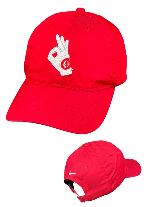 The perfect classic look with a contrast under-bill as engineered by Nike. This red cap has an unstructured, mid-profile design with an embroidered Nupe Yo Golf Glove and a self-fabric closure with buckle. The contrast Swoosh design trademark is embroidered on the center back. Made of 58/42 cotton/poly twill.