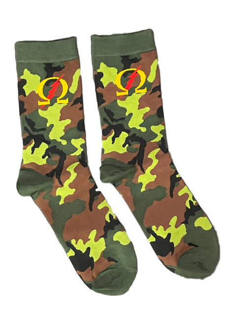 Omega Psi Phi camo army socks. These cotton-blend crew socks feature an allover camouflage motif and an Omega Thunder logo.