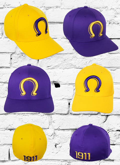 The Omega Psi Phi Signature Fitted Hat features an embroidered Ω logo at the front panels with an an embroidered 1911 logo at the rear.