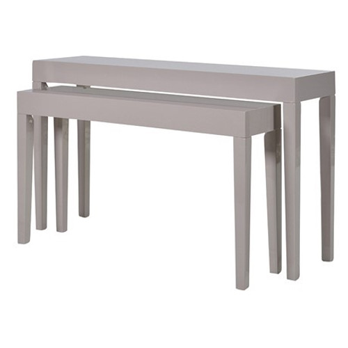Taupe High Gloss Console Tables in two sizes, a lovely soft grey with a high gloss sheen.