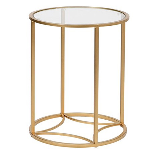 This neat and small round side table is perfect to add some glitz and gold to your home. This table has a glass surface, which only draws more attention to the crisp gold coloured frame.