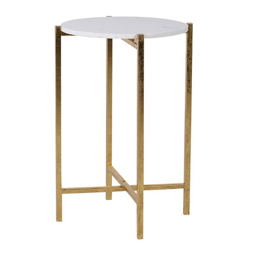 small side table with a marble effect top and gold legs, ideal for a small space to the side of a sofa