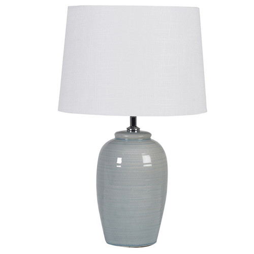 Pale Green Ceramic Table Lamp with a White Shade