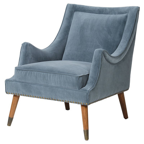 Stunning Blue Velvet Accent Chair with Studded Bottom.