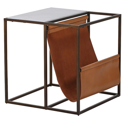Marble Side Table with Leather Magazine Rack