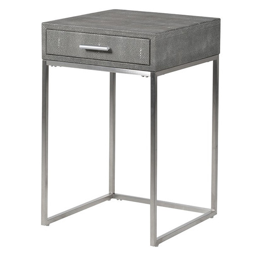 Faux Shagreen Leather Side Table