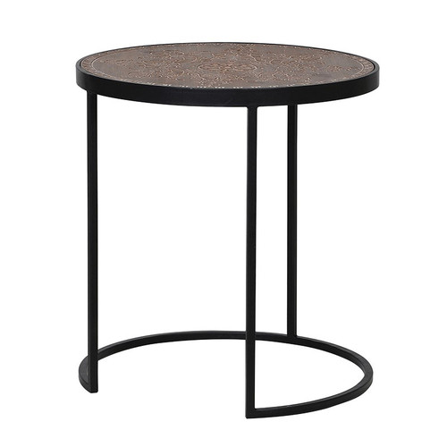 Black Iron Side Table with a beautifully carved, patterned wood top.