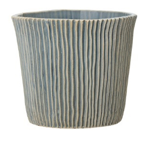Blue Ridged Stoneware Ceramic Pot handcrafted