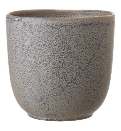 Grey Stoneware pot with a stippled style finish