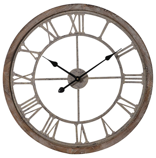 washed wooden surround clock with metal skeleton style numerals