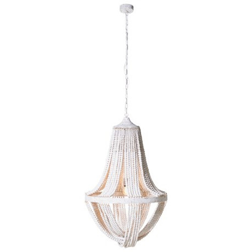 Dimensions: H: 1050mm xåÊDia: 720mmHeight Including Chain: 2000mm.The white wooden beads drape from the lightåÊand will brighten up any room. Once on, the light reflects from theåÊbeads illuminateåÊthe area.
