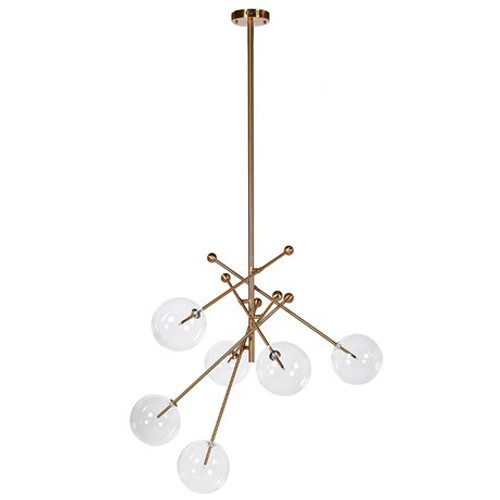 Gold Ceiling pendant with clear glass ball shades  Modern, multi-arm ceiling pendant light fitting, feauturing 6 glass globe shaped shades.Dimensions: H: 1900mm W: 1100mm D: 850mm