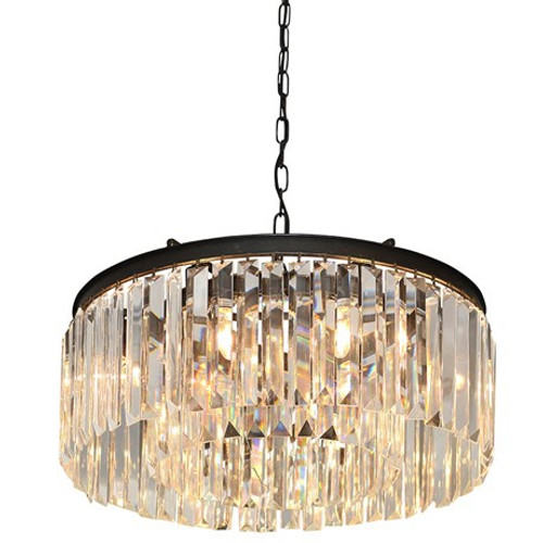 single tier crystal chandelier with a dark metal band rlz020