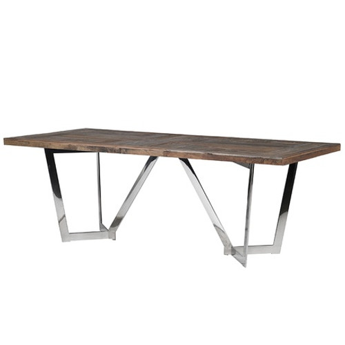 A reclaimed elm dining table top with an elegant contemporary stainless steel base.