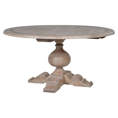 Round wooden dining table with a grey wash. A central coloumn in solid timber.