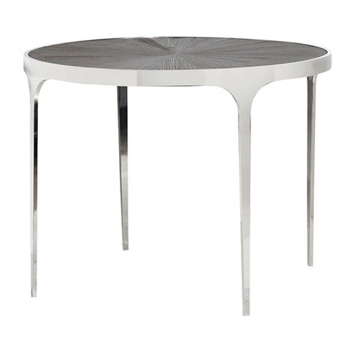 A contemporary elm inlay dining table set into a polished stainless steel frame with soft curved edges and legs.