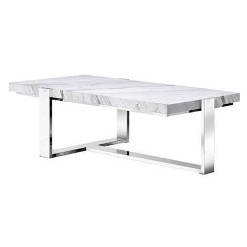 This coffee table is marble veneered with a steel base
