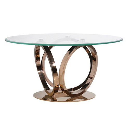 Glass top dining table with inter looping soft rose gold legs.