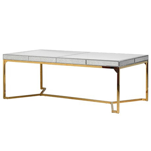 Mirage Antique Mirror Dining Table with a metal gold base, contemporary dining table, large