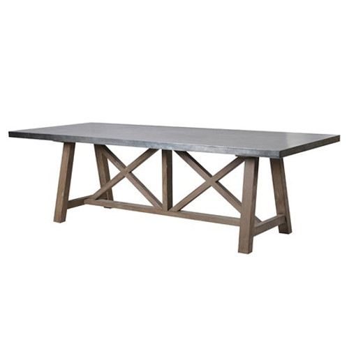 An X frame distressed table with a rustic shaped leg and a zinc top, the</p> <div>Dimensions: H: 76cm L: 240cm W: 100cm</div>