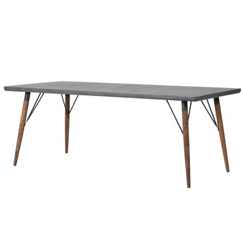 A grey concrete effect contemporary table with solid timber legs, a great addition to a contemporary interior.
