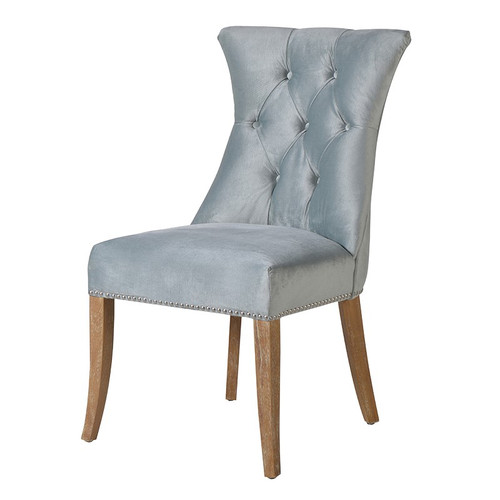 A beautiful mint velvet studded dining chair with stunning light wood legs.