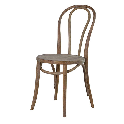 A french style round oak dining chair.