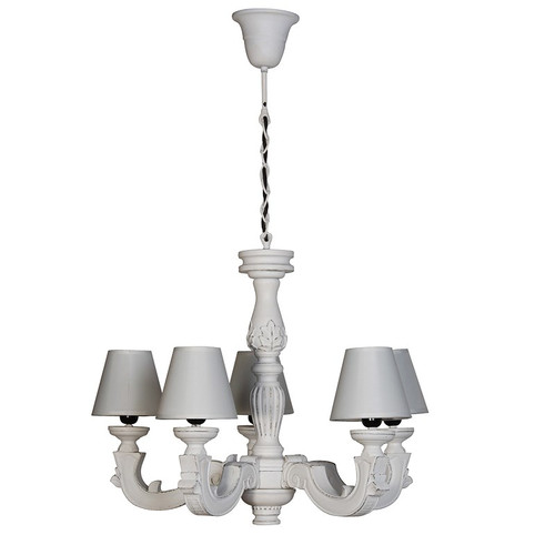 white carved 5 arm chandelier with shades